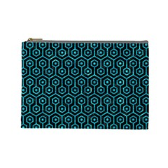 Hexagon1 Black Marble & Turquoise Marble Cosmetic Bag (large) by trendistuff
