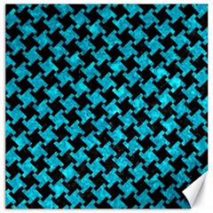 Houndstooth2 Black Marble & Turquoise Marble Canvas 12  X 12  by trendistuff