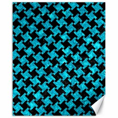 Houndstooth2 Black Marble & Turquoise Marble Canvas 16  X 20
