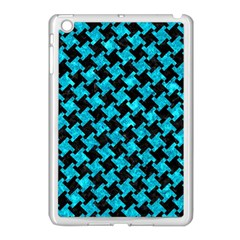 Houndstooth2 Black Marble & Turquoise Marble Apple Ipad Mini Case (white) by trendistuff