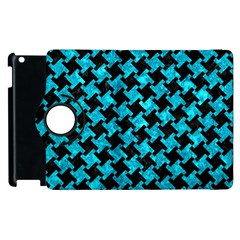 Houndstooth2 Black Marble & Turquoise Marble Apple Ipad 2 Flip 360 Case by trendistuff