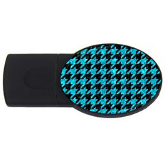 Houndstooth1 Black Marble & Turquoise Marble Usb Flash Drive Oval (4 Gb) by trendistuff