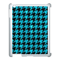 Houndstooth1 Black Marble & Turquoise Marble Apple Ipad 3/4 Case (white) by trendistuff