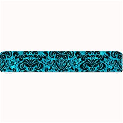 Damask2 Black Marble & Turquoise Marble (r) Small Bar Mat by trendistuff