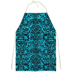 Damask2 Black Marble & Turquoise Marble (r) Full Print Apron by trendistuff