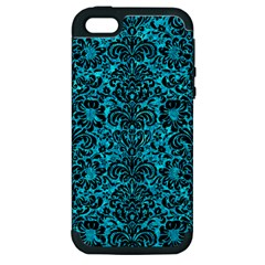 Damask2 Black Marble & Turquoise Marble (r) Apple Iphone 5 Hardshell Case (pc+silicone) by trendistuff
