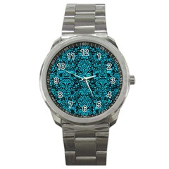Damask2 Black Marble & Turquoise Marble Sport Metal Watch by trendistuff