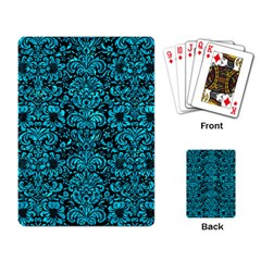 Damask2 Black Marble & Turquoise Marble Playing Cards Single Design by trendistuff
