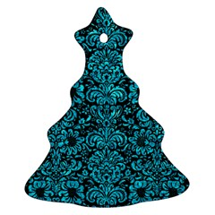 Damask2 Black Marble & Turquoise Marble Ornament (christmas Tree)  by trendistuff