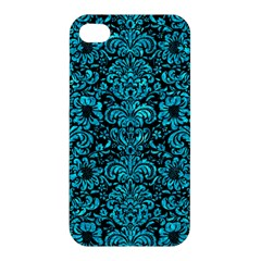 Damask2 Black Marble & Turquoise Marble Apple Iphone 4/4s Hardshell Case by trendistuff