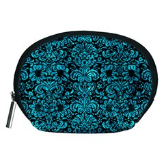 Damask2 Black Marble & Turquoise Marble Accessory Pouch (medium) by trendistuff