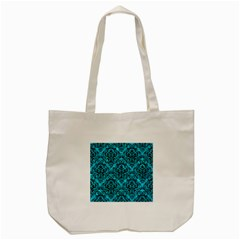Damask1 Black Marble & Turquoise Marble (r) Tote Bag (cream) by trendistuff