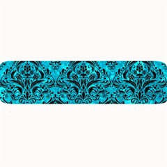 Damask1 Black Marble & Turquoise Marble (r) Large Bar Mat by trendistuff