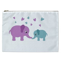 Elephant Love Cosmetic Bag (xxl)  by Valentinaart