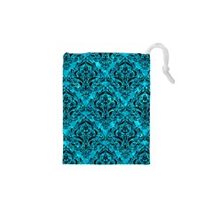 Damask1 Black Marble & Turquoise Marble (r) Drawstring Pouch (xs) by trendistuff