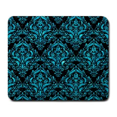 Damask1 Black Marble & Turquoise Marble Large Mousepad by trendistuff