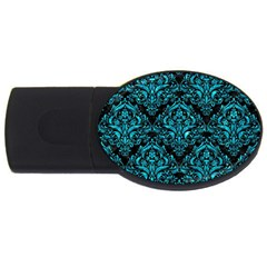 Damask1 Black Marble & Turquoise Marble Usb Flash Drive Oval (2 Gb) by trendistuff