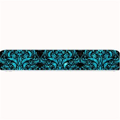 Damask1 Black Marble & Turquoise Marble Small Bar Mat by trendistuff