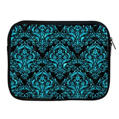 Damask1 Black Marble & Turquoise Marble Apple Ipad Zipper Case by trendistuff