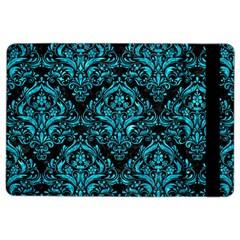 Damask1 Black Marble & Turquoise Marble Apple Ipad Air 2 Flip Case by trendistuff