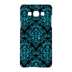 Damask1 Black Marble & Turquoise Marble Samsung Galaxy A5 Hardshell Case  by trendistuff