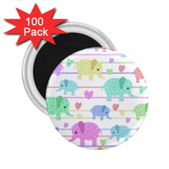 Elephant Pastel Pattern 2 25  Magnets (100 Pack)  by Valentinaart