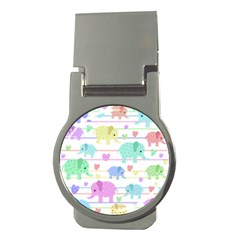 Elephant Pastel Pattern Money Clips (round)  by Valentinaart
