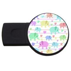 Elephant Pastel Pattern Usb Flash Drive Round (2 Gb) by Valentinaart