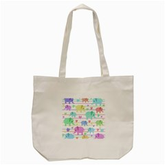 Elephant Pastel Pattern Tote Bag (cream) by Valentinaart