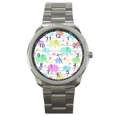 Elephant Pastel Pattern Sport Metal Watch by Valentinaart