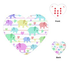 Elephant Pastel Pattern Playing Cards (heart)  by Valentinaart