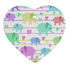 Elephant Pastel Pattern Heart Ornament (two Sides) by Valentinaart