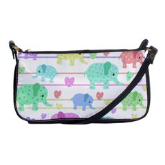 Elephant Pastel Pattern Shoulder Clutch Bags by Valentinaart