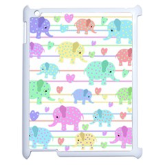 Elephant Pastel Pattern Apple Ipad 2 Case (white) by Valentinaart