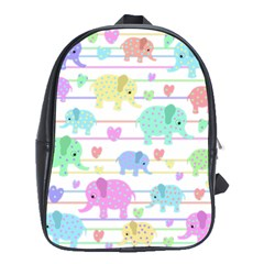 Elephant Pastel Pattern School Bags (xl)  by Valentinaart