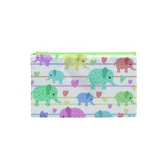 Elephant Pastel Pattern Cosmetic Bag (xs) by Valentinaart