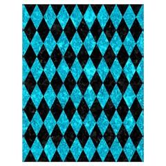 Diamond1 Black Marble & Turquoise Marble Drawstring Bag (large) by trendistuff