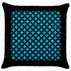 Circles3 Black Marble & Turquoise Marble (r) Throw Pillow Case (black) by trendistuff