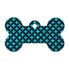 Circles3 Black Marble & Turquoise Marble (r) Dog Tag Bone (one Side) by trendistuff