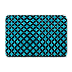 Circles3 Black Marble & Turquoise Marble (r) Small Doormat by trendistuff