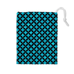 Circles3 Black Marble & Turquoise Marble (r) Drawstring Pouch (large)