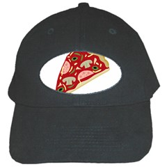 Pizza Slice Black Cap by Valentinaart