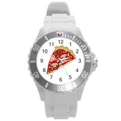 Pizza Slice Round Plastic Sport Watch (l) by Valentinaart