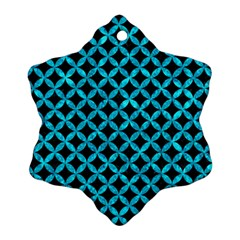 Circles3 Black Marble & Turquoise Marble Snowflake Ornament (two Sides) by trendistuff