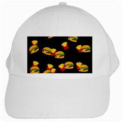 Hamburgers And French Fries Pattern White Cap by Valentinaart