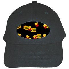 Hamburgers And French Fries Pattern Black Cap by Valentinaart