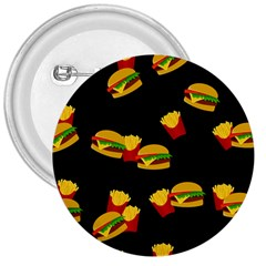 Hamburgers and french fries pattern 3  Buttons by Valentinaart
