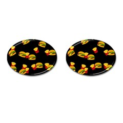 Hamburgers And French Fries Pattern Cufflinks (oval) by Valentinaart