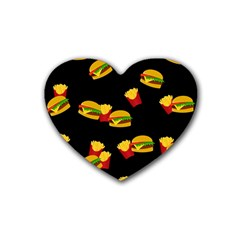 Hamburgers And French Fries Pattern Heart Coaster (4 Pack)  by Valentinaart