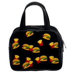 Hamburgers And French Fries Pattern Classic Handbags (2 Sides) by Valentinaart